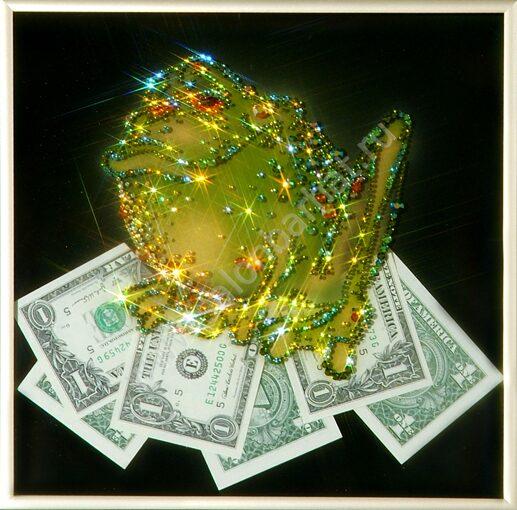 Картина жаба с долларами