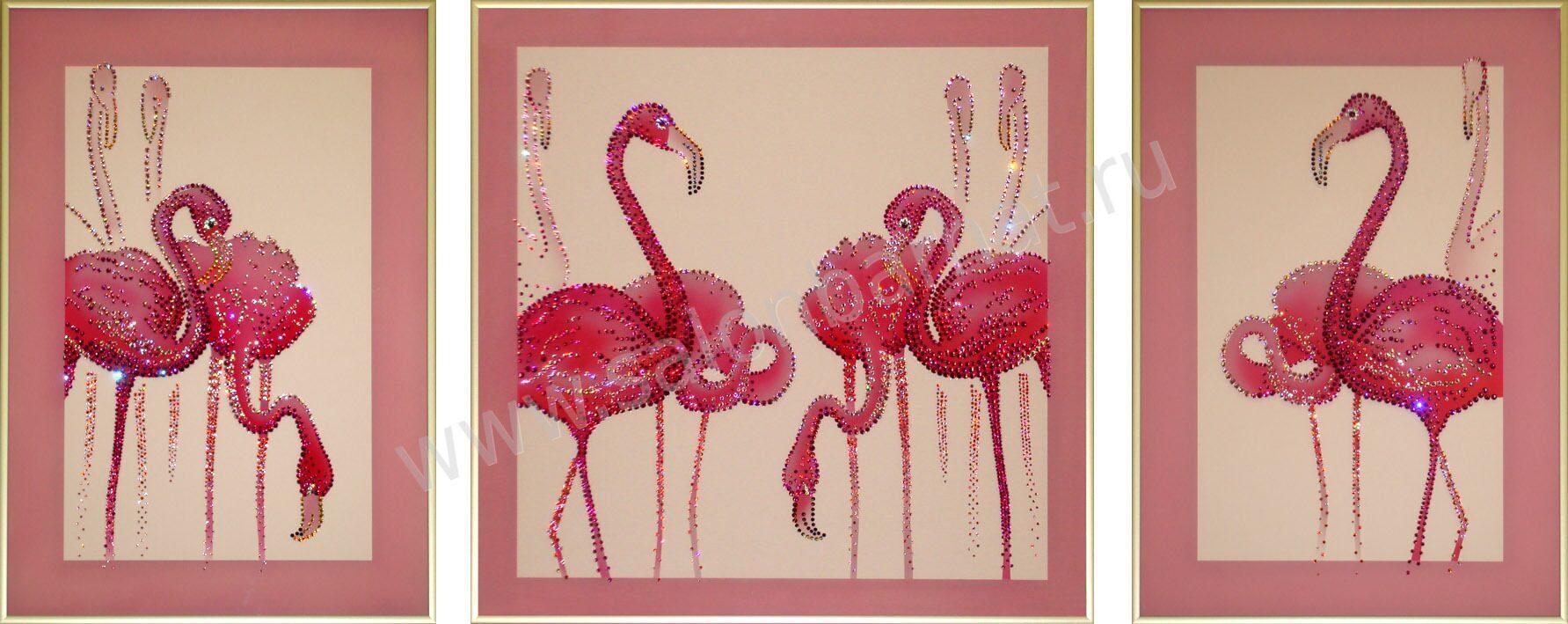 Картины фламинго триптих